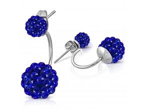 Dámské náušnice z ocele, dve shamballa guličky kráľovsky modrej farby (1)