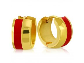 Okrúhle náušnice z ocele zlatej farby, glazúrovaný červený pás
