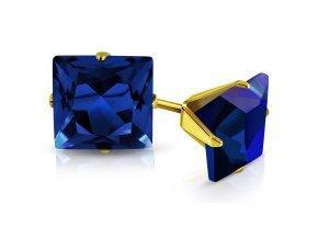 Detské náušnice so zirkónom, oceľ zlatej farby, štvorec modrej farby 3 mm