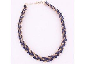 Dámsky náhrdelnik, modrá a zlatá farba, vrkoč s retiazkou, bižutéria