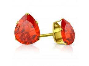 Väčšie dámske náušnice z ocele zlatej farby, svetločervená slza