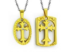 Prívesok pre dvoch z ocele, dve známky zlatej farby, kríž a zirkón