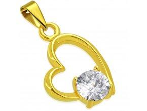 Prívesok srdce z ocele zlatej farby, číry zirkón a kontúra (1)