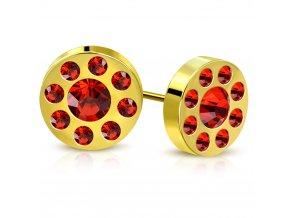Dámske puzetové náušnice zlatej farby, červené zirkóny v kruhu, oceľ