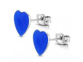 Puzetové náušnice srdce z chirurgickej ocele, modrá farba