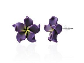 Dámske náušnice z Fimo hmoty, chirurgická oceľ, fialová Plumeria