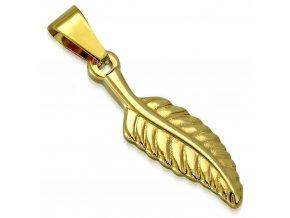 Malý prívesok na retiazku, list zlatej farby z ocele, gravírovanie (1)