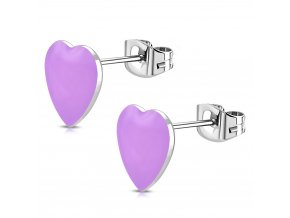 Puzetové náušnice srdce z chirurgickej ocele, ružovo fialová farba