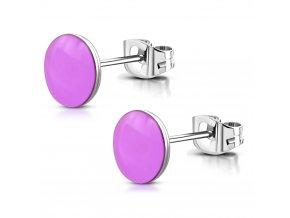 Náušnice pre ženu z chirurgickej ocele, fialová glazúra 6 mm