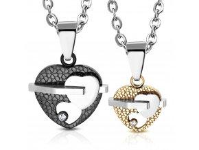 Prívesok pre dvoch z ocele, srdce v dvoch farbách, číry zirkón a gravírovanie (1)