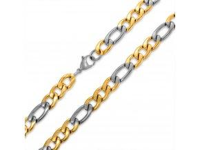 """Retiazka na krk, vzor """"Figaro"""", oceľ zlatej a striebornej farby - 5/505 mm"""
