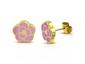 Puzetové náušnice z ocele zlatej farby, ružová glazúrovaná ruža