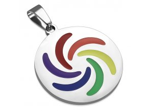Hladká okrúhla známka striebornej farby, oceľ, dúhová glazúra (1)