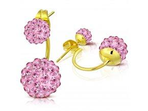 Náušnice z ocele zlatej farby, dve shamballa guličky ružovej farby (1)