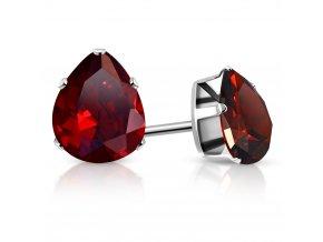 Väčšie dámske náušnice z ocele striebornej farby, červená slza