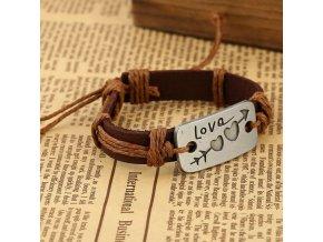 Kožený náramok na ruku, známka s nápisom, vzor srdce, šíp, bižutéria