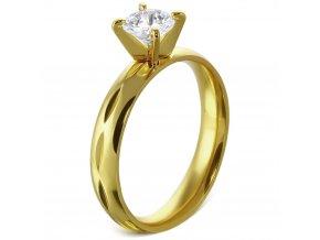 Zásnubný prsteň so zirkónom, chirurgická oceľ, zlatá farba a gravírovanie Solitér