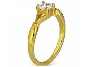 Zásnubný prsteň so zirkónom, chirurgická oceľ, zlatá farba