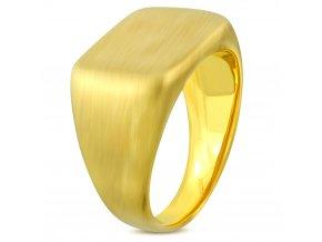 Pečatný hranatý prsteň, chirurgická oceľ zamatovej zlatej farby