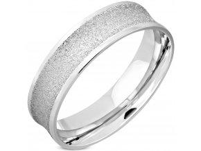 Sedlový pieskovaný prsteň z ocele, strieborná farba 6 mm