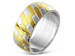 Obrúčka z ocele, zlatá a strieborná farba, vzor pneumatika