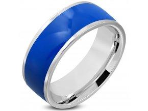 Obrúčka z chirurgickej ocele, modrá glazúra a strieborná farba