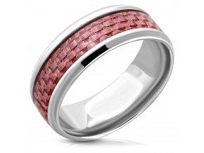 Obrúčka z ocele, strieborná a ružová farba, karbónový vzor