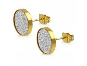 Puzetové náušnice z ocele, zlatá a strieborná farba, pieskovanie (1)