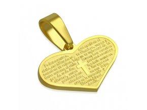 Prívesok srdce z ocele zlatej farby, gravírovaná modlitba, kríž (1)