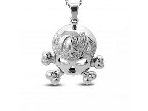 Prívesok lebka z ocele, strieborná farba, gravírovanie a plamene (1)
