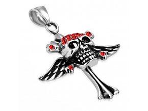 Prívesok lebka z ocele, krídla a červené zirkóny, strieborná patinovaná farba (1)