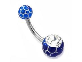 Piercing do pupka z ocele, modré guličky a biely vzor, číry zirkón