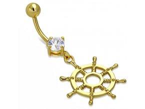 Piercing do brucha z ocele zlatej farby, číry zirkón, kormidlo (1)