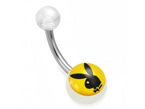 Piercing do pupka z ocele, číre guličky, potlač Playboy zajačika