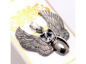 Pánsky prívesok z chirurgickej ocele, ručný granát a krídla