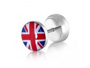Fake plug z chirurgickej ocele, strieborná farba, britská vlajka