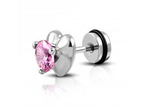 Fake plug z ocele striebornej farby, srdce s ružovým zirkónom