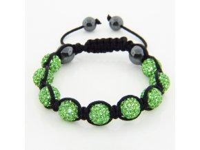 Shamballa náramok na ruku, zelené guličky, bižutéria