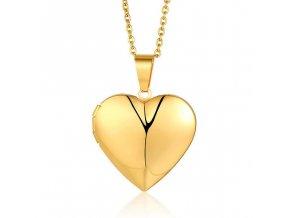 Medailón na fotky, 3D srdce z ocele, zlatá hladká farba