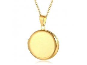 Okrúhly medailón 3D na fotky z chirurgickej ocele, zlatá hladká farba (1)