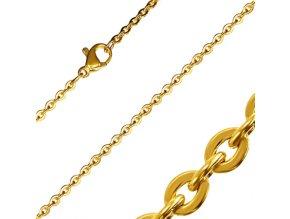 """Retiazka na krk z chirurgickej ocele, zlatá farba, vzor """"Rolo"""" - 2/500 mm"""