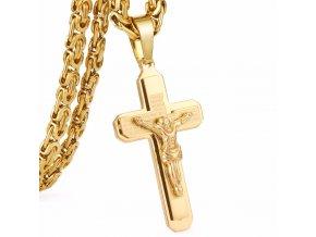 Retiazka s krížom pre muža, chirurgická oceľ zlatej farby, modlitba a Ježiš (1)