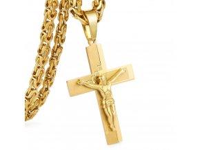 Retiazka s krížom pre muža z chirurgickej ocele, zlatá farba, Ježiš a modlitba (1)