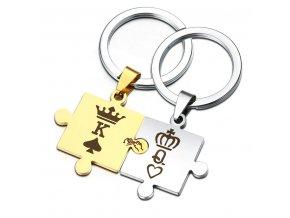 Kľúčenky pre dvoch, puzzle, kráľovná a kráľ, zlatá a strieborná farba (1)