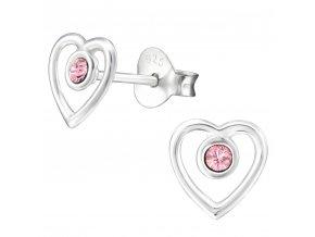 Dámske strieborné náušnice 925, kontúra srdca s ružovým Swarovski zirkónom