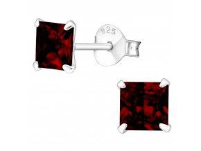 Dámske strieborné náušnice 925, červené zirkónové štvorce 5 mm