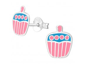 Detské strieborné náušnice 925, ružovo modrý muffin