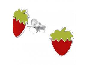 Detské strieborné náušnice 925, červená jahoda