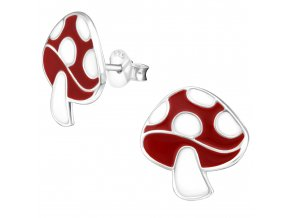 Detské strieborné náušnice 925, červeno biela muchotrávka