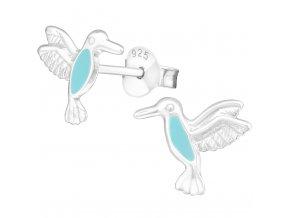 Detské strieborné náušnice 925, blankytný kolibrík